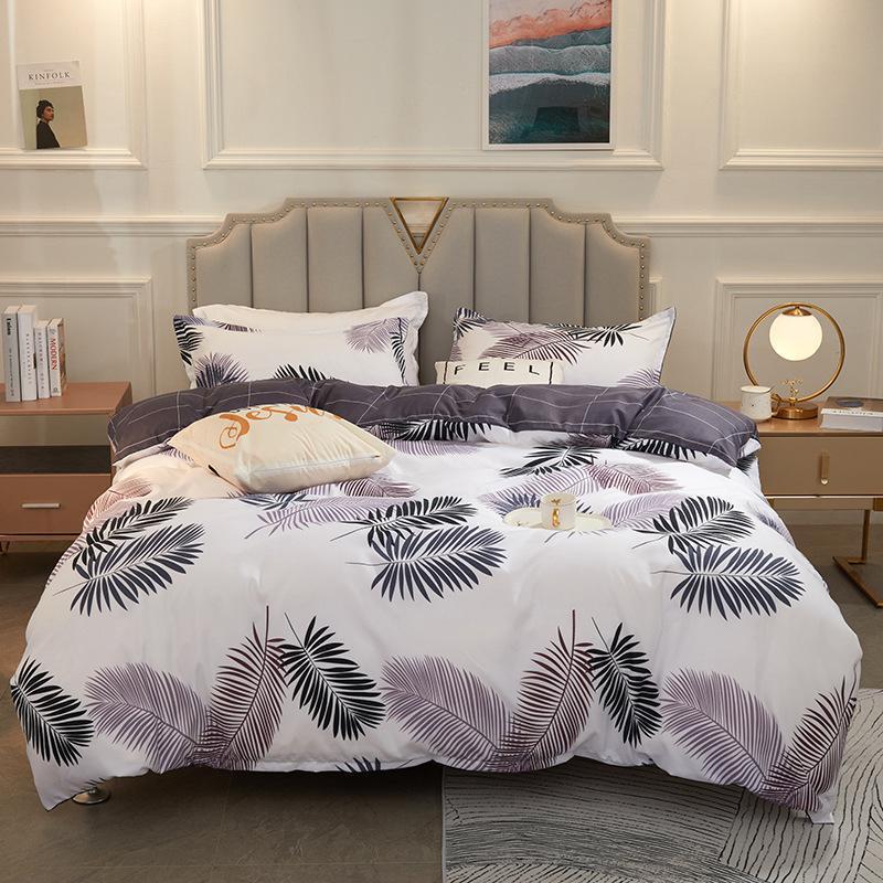 Bettwäsche-Sets Home Textile Design Edle Pflanze Blatt Muster Bett Blatt 3 / 4pcs A / B Doppelseitige König Alle Größen Soft Ozeanien