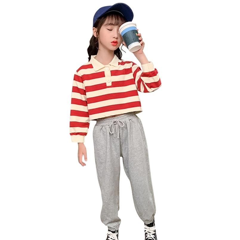 Girls Sport Clothes Striped Pattern For Sweatshirt + Pants Costumes Autumn Winter Children's Tracksuits 210528