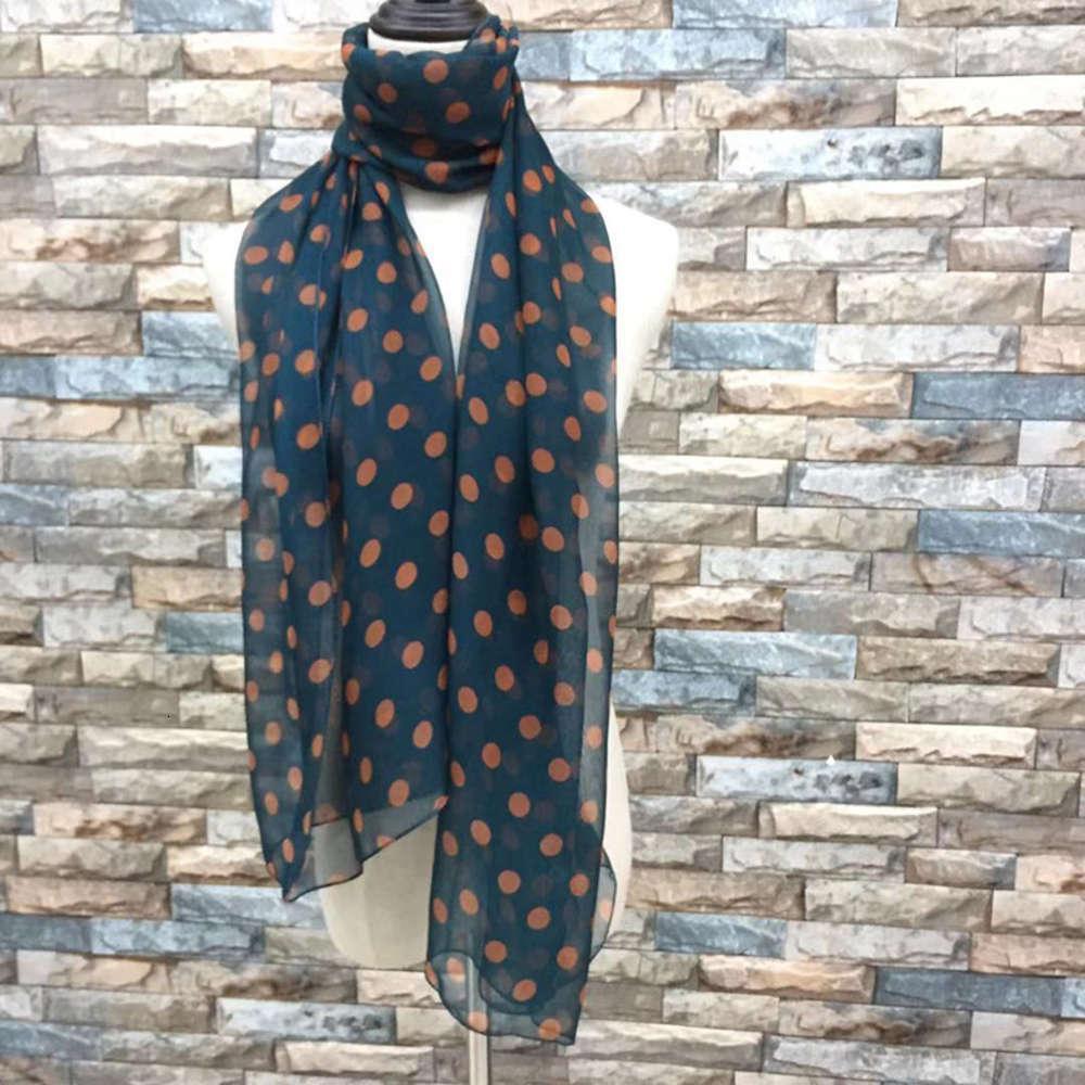 Georgette женская универсальная весна и осень тонкие темно-зеленые горошек шарфы длинные зимние платки