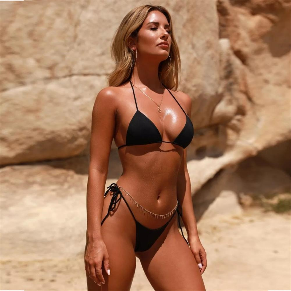 Bikini feminino Bikini Cor Sold Swimsuit Bandagem Sexy Poliéster Tecido Pad Summer Beach Swimwear S-L