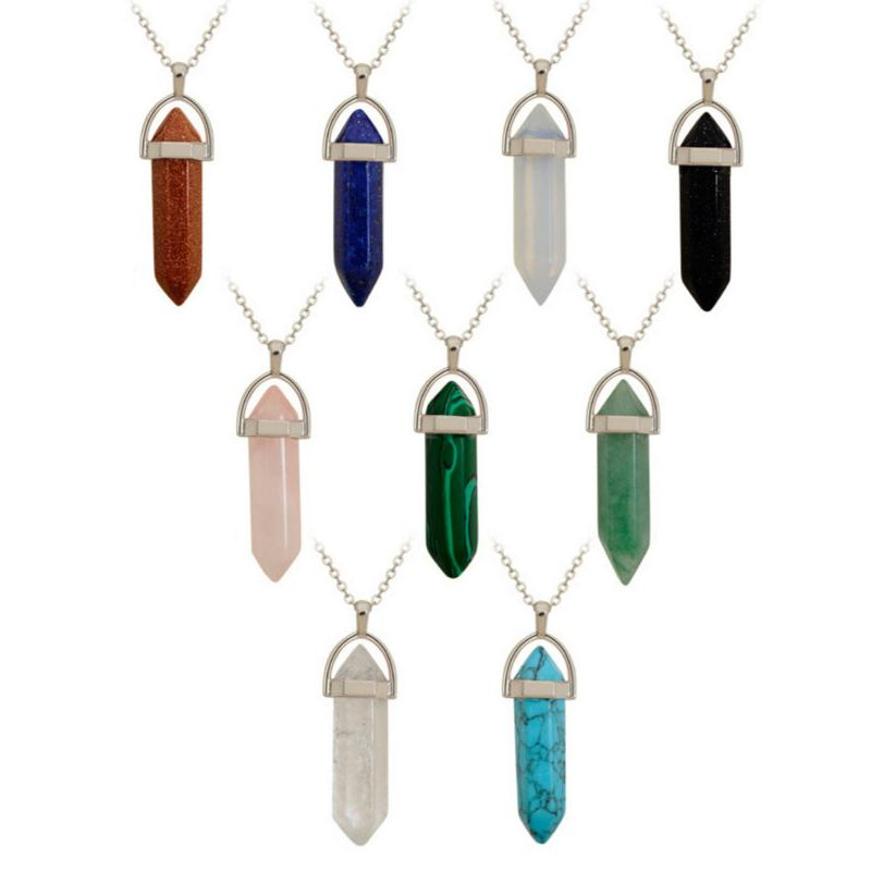 Natural Crystal Stone Pendant Necklace Fashion Hexagonal Cylindrical Gemstone Necklaces Party Decoration Jewelry Gift Supplies Belt Chain
