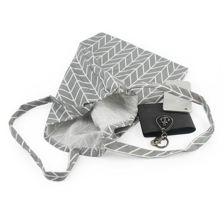 Neue heiße Modeeinkaufstasche Tägliche Verwendung Faltbare Handtasche Große Kapazität Plaid Canvas Tote Für Frauen Weibliche Käufertasche