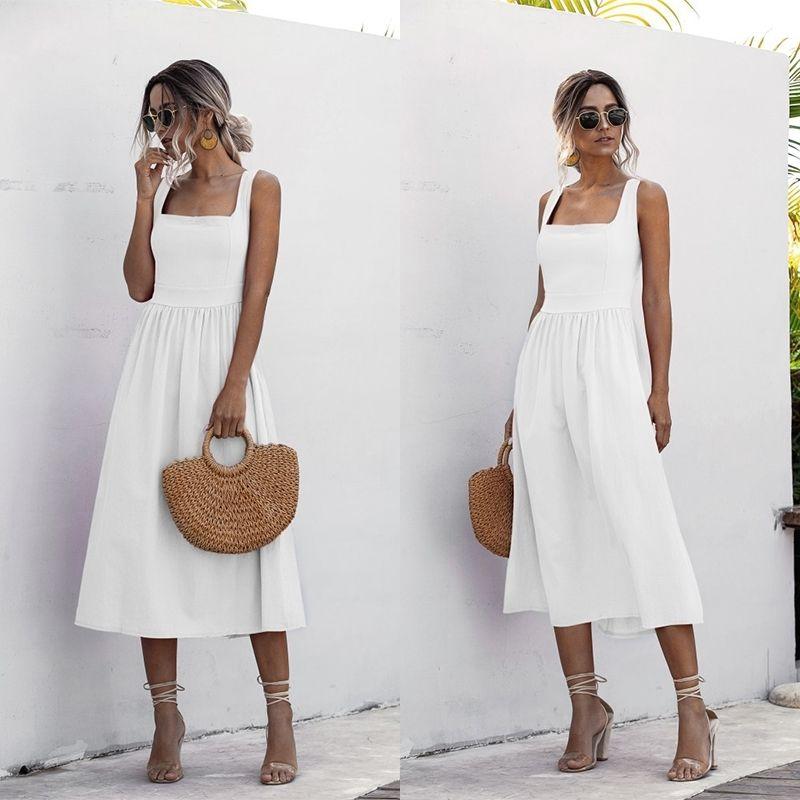 Kadınlar Uzun Elbise Yaz Seksi Backless Casual Beyaz Siyah Dantelli Kayma MIDI Sundresses Bayanlar Spagetti Kayışı Vestido Giysileri 210303