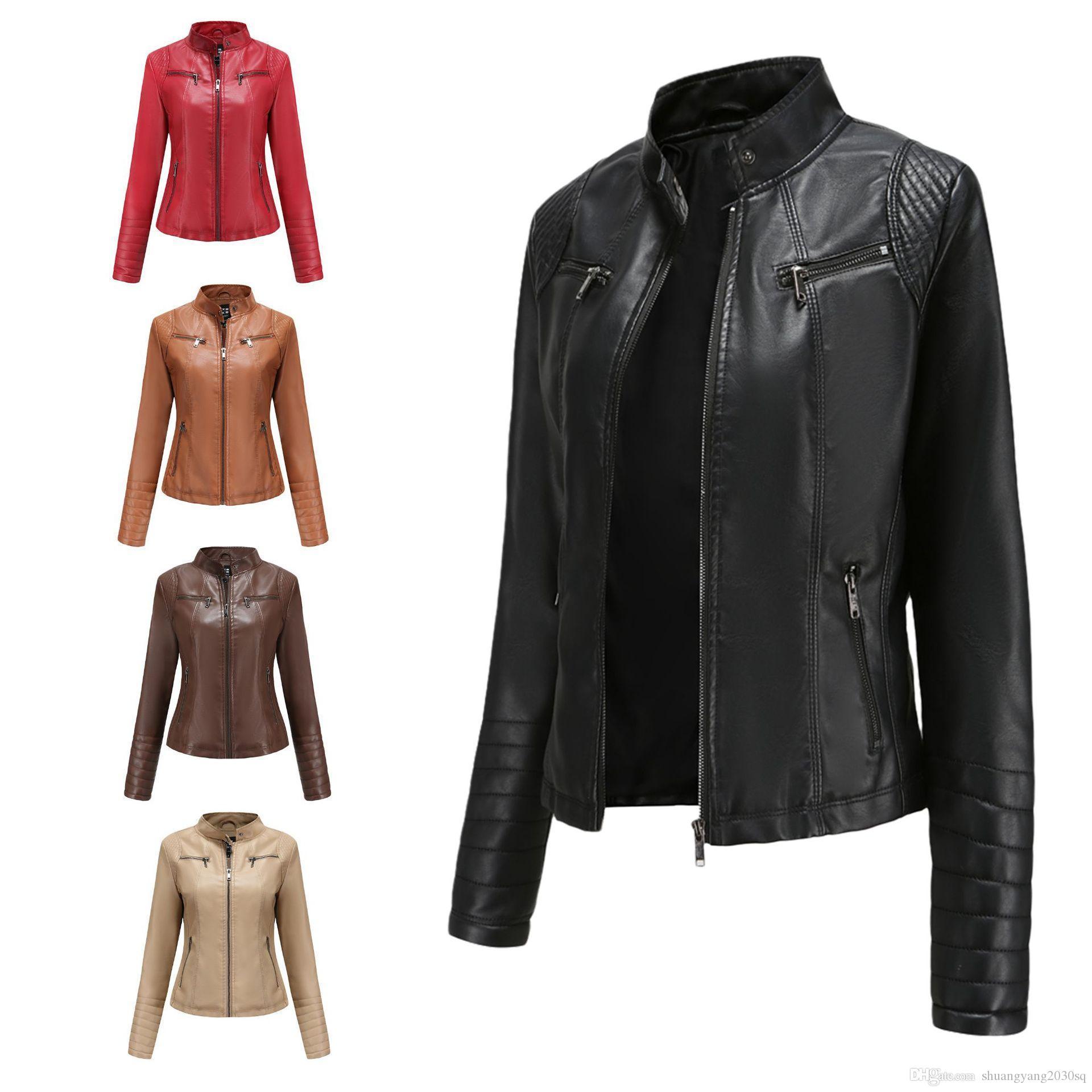 Abbigliamento in pelle da donna Slim Spring Autumn Autunno Moto Moto Giacca in pelle PU Breve moda Cappotto in uscita