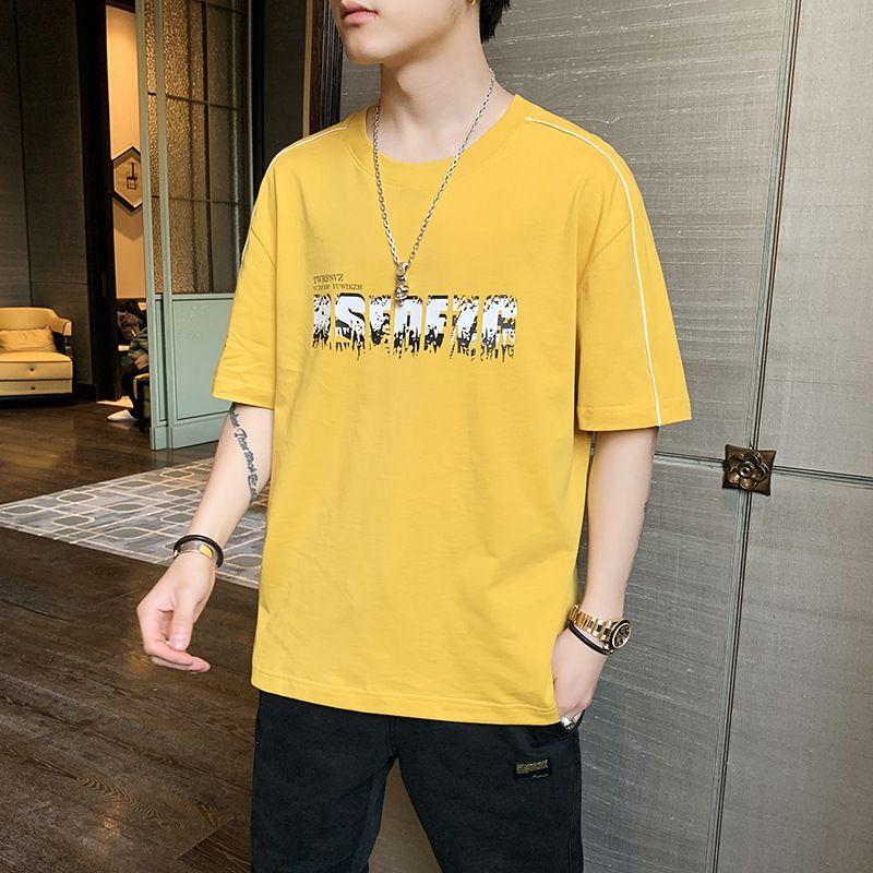 2021 Yeni Yaz Kısa erkek Öğrenci Rahat Üst Yarım Kollu Moda Gevşek T-shirt Erkekler