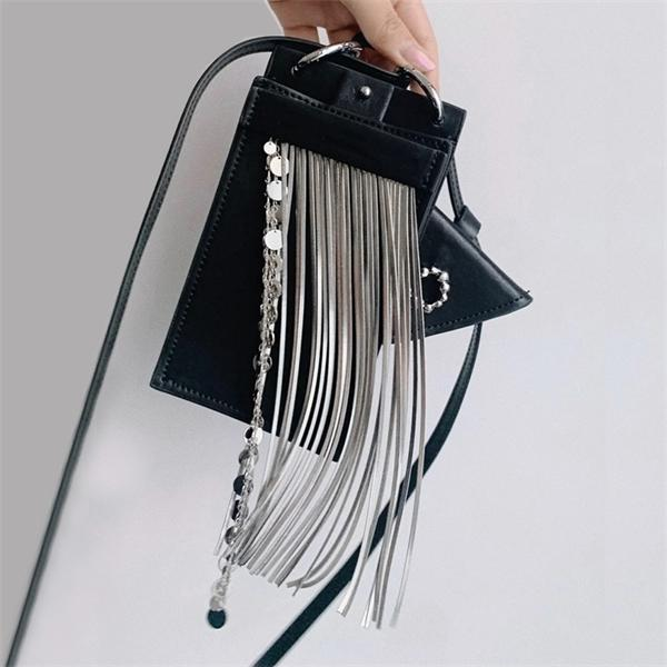 Punk Tassel Women Crossbody Bags Designer Small Phone Cover Shoulder Bags for Women 2021 Fashion Sequins Phone Bag Women's Bag C0308