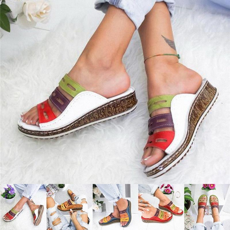 2019 New Summer Women Sandals Stitching Sandals Ladies Open Toe Casual Shoes Platform Wedge Slides Beach Woman Shoes M2wB#