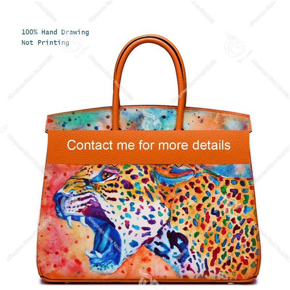 Рукоятна окрашенные животные тигр лев леопард женщин подлинной коровьей кожи старинные женщины ручная сумка дизайнеры роскошные сумки сумки