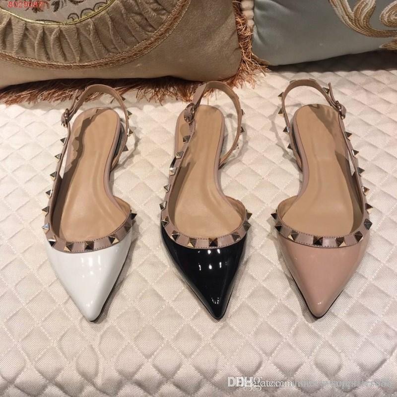 أزياء الاتجاهات برشام أحذية المرأة أحذية نسائية المستوردة البقر بطانة جلد الغنم القدمين بارد انبهار المرأة برشام مسطحة الصنادل