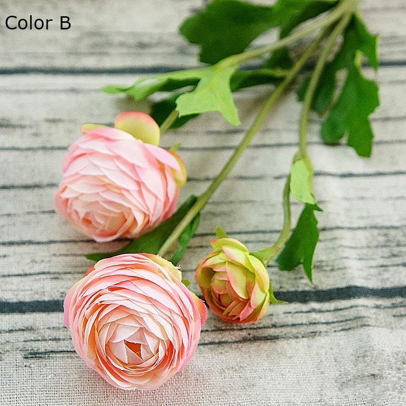 Flores decorativas Grinaldas 3heads Artificial Ranúnculo Asiaticus Rosa Falsa De Silk Flores Artificiales Para O Outono Casamento Decoração Kunstbl