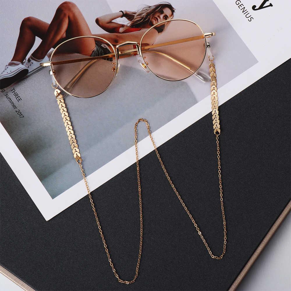 Designer de luxe 1Pcs Femmes Femmes Perles Gold Lunettes de soleil Chaînes Lunettes de soleil Collier Collier Eyewear Retraite Accessoires KVNK