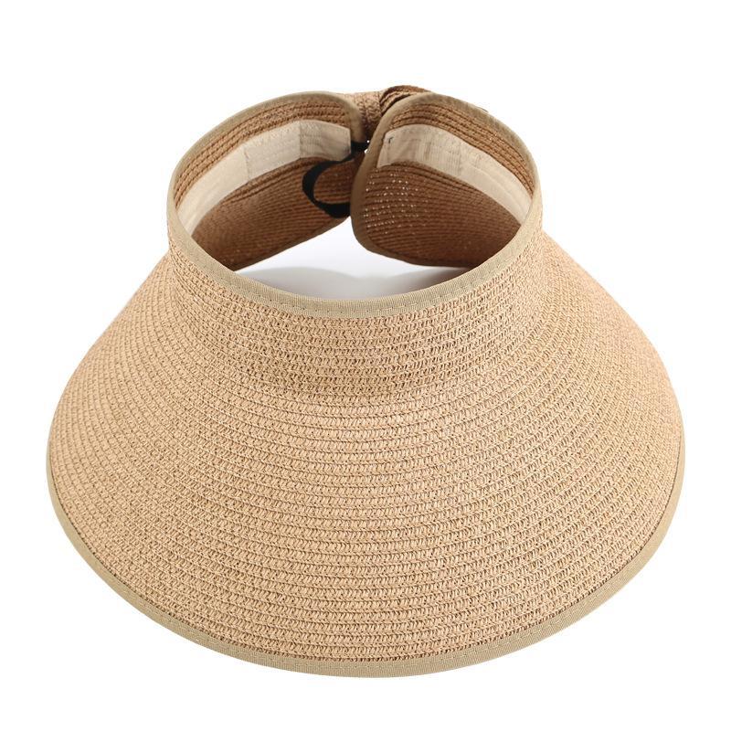 Beach Sunshade Empty Top Hat Women Summer Sun Protection Straw Hat Folding Large Adult Parent-child Hat