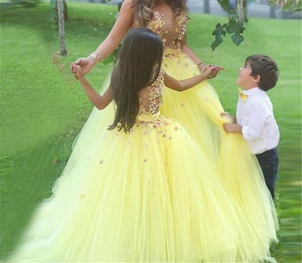 2021 flores casamento meninas filha amarela e vestidos de mãe applique crianças bairro tulle crianças vestido de festa