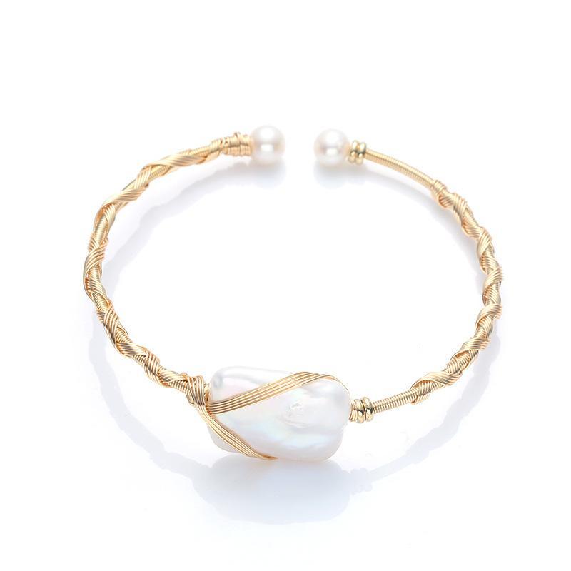 14K perla oro natural inyección de agua dulce herida pulsera cruce herida pequeña Pulsera de perla barroca cuadrada