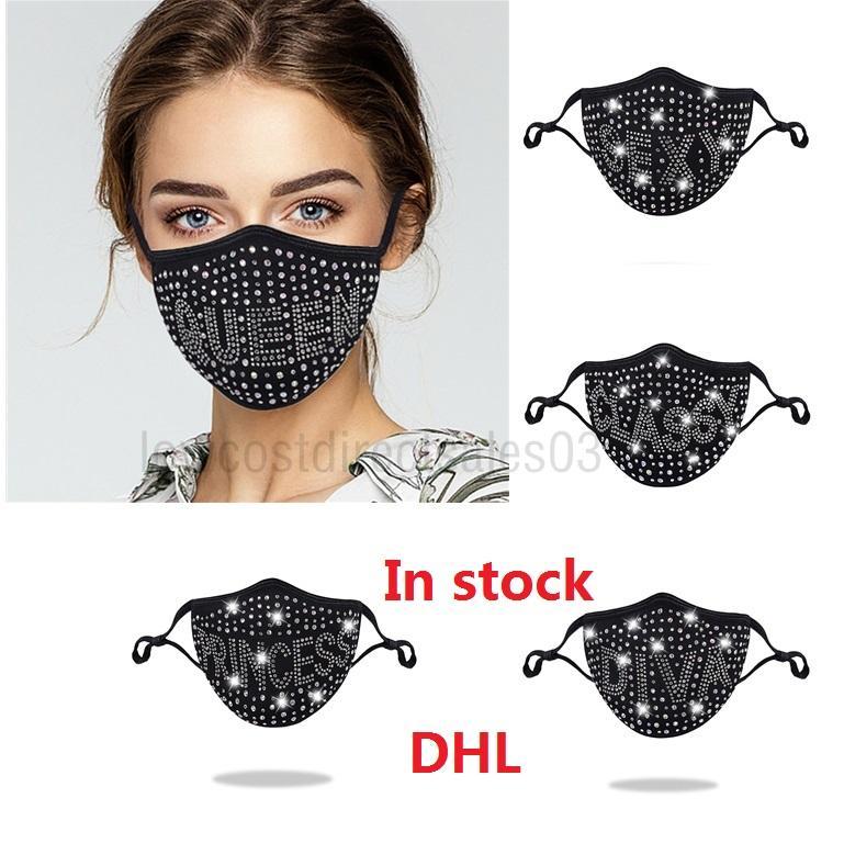 DHL Letter Dustproof Face Mask Bling Diamond Protective Mask PM2.5 Mouth Masks Washable Reusable Women Colorful Rhinestones Face Mask