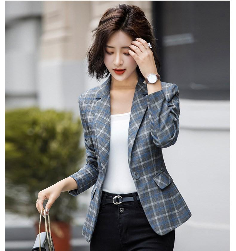 Women's Suits & Blazers 2021 Blazer Long Sleeves Jacket Office Lady One Button Casual Plaid