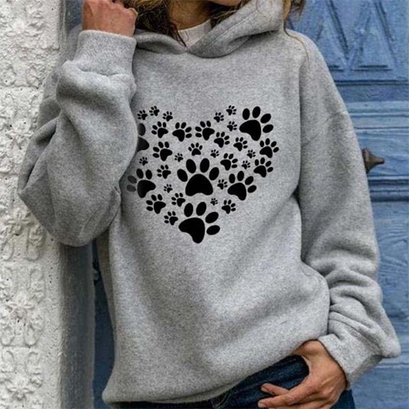 Autumn Heart Paw Imprimir sudadera con capucha Sudaderas para mujer Streetwear de manga larga Streetwear Pulloves femenino Nuevo invierno moda casual dama ropa 201102