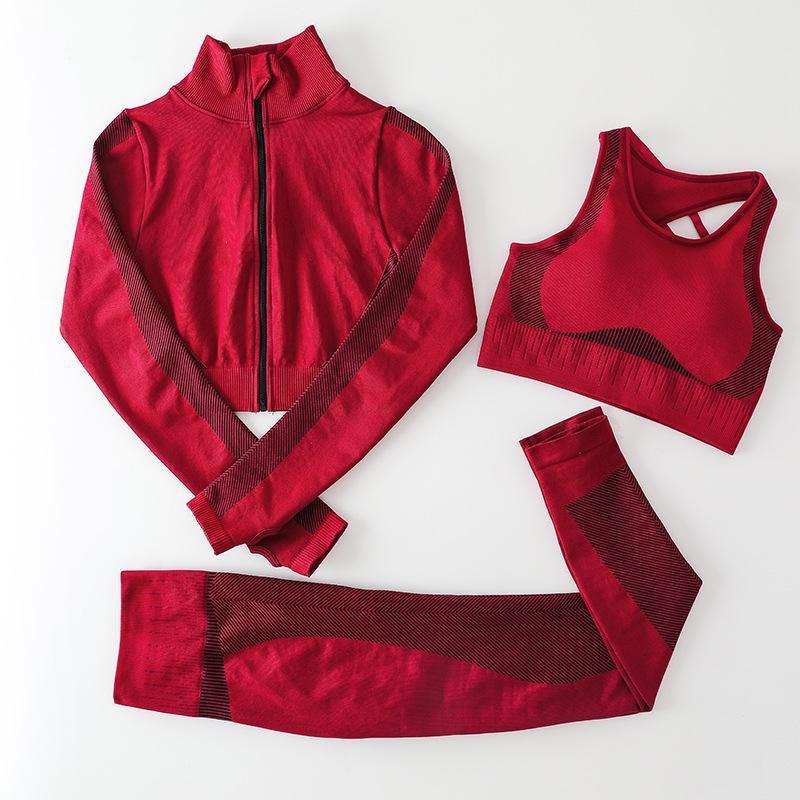 Autunm winter Fashion Designer Womens Cotton Yoga Suit Gymshark Sportwear Tracksuit Fitness Sports three Piece set 3PCS bra Leggings outfits