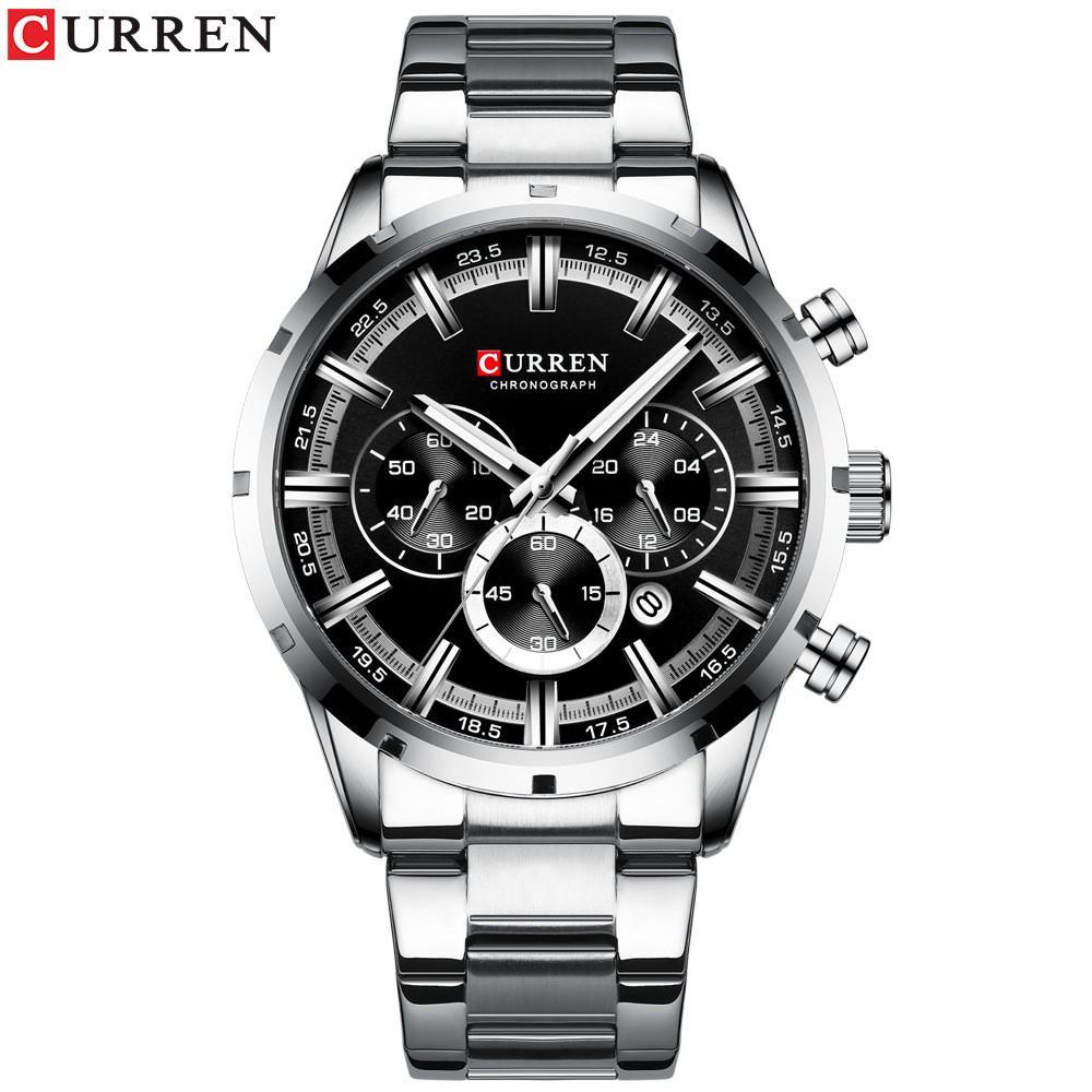Curren 8355 Mens 시계 스포츠 쿼츠 크로노 그래프 손목 시계가 빛나는 손으로 패션 스테인레스 스틸 시계 날짜