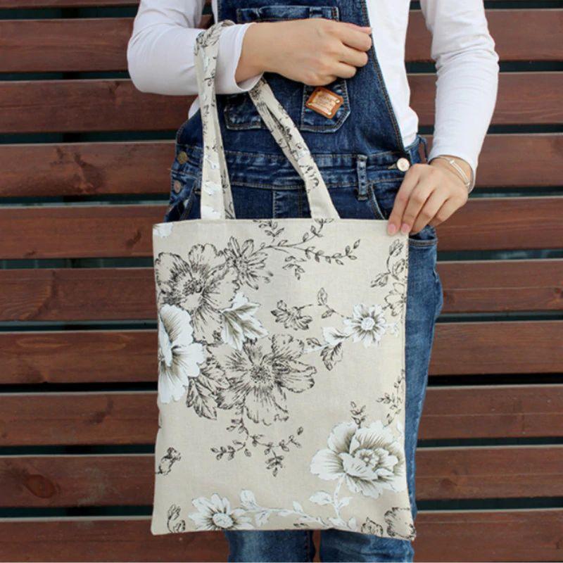 2021 Mode stebly Canvas Einkaufstasche Eco Shopping Tasche Tägliche Verwendung Faltbare Handtasche Große Kapazität Plaid Canvas Tote Für Frauen Weibliche Shopper Tasche