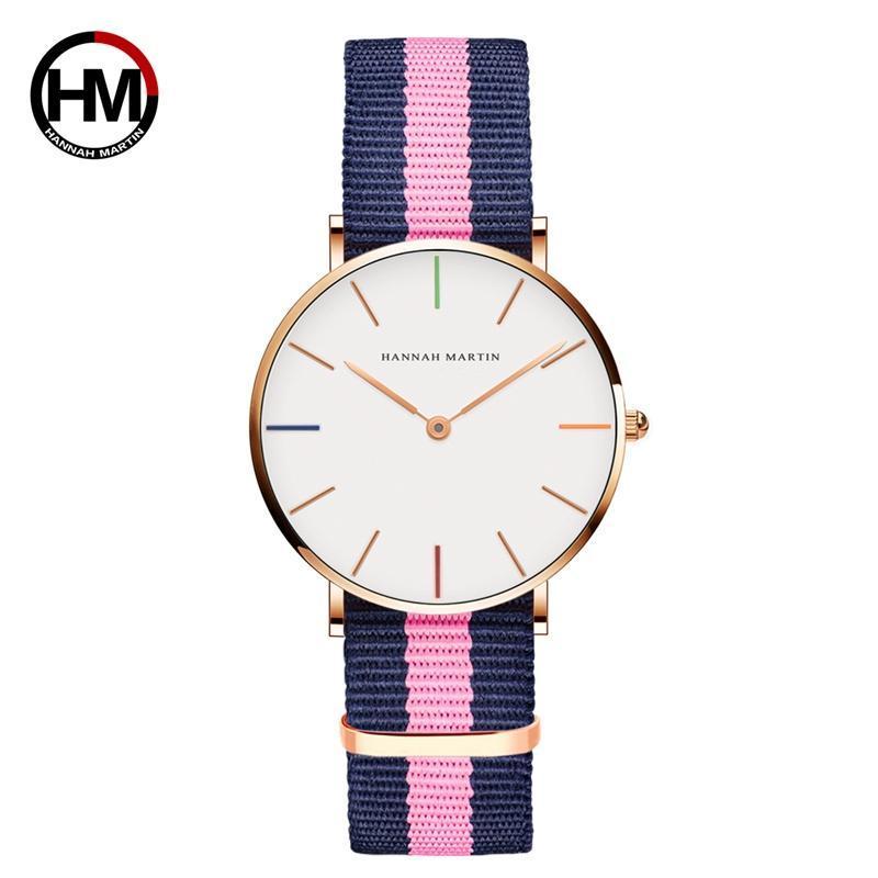 Armbanduhren Freizeit Studenten Rose Gold Koreanische Version von Mode Wasserdichte Damenquarz Nylon Uhr 36mm