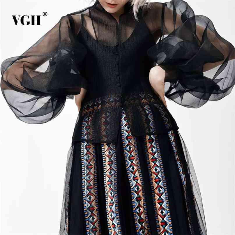 Chemise noire décontractée pour femme tenue collier lanterne à manches longues voir à travers chemisier femme mode de mode printemps 210531