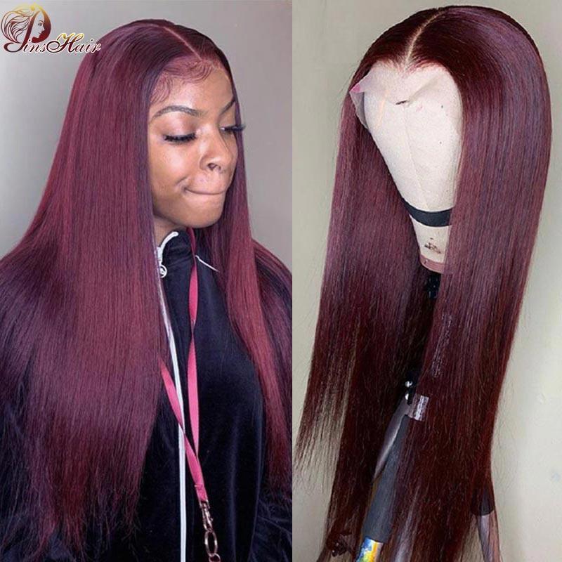 Кружевные парики Бургундия окрашенные передние предварительно вырванные бразильцы 13 * 1 Человеческие волосы красный 99J блондинка 180% плотность Remy парик