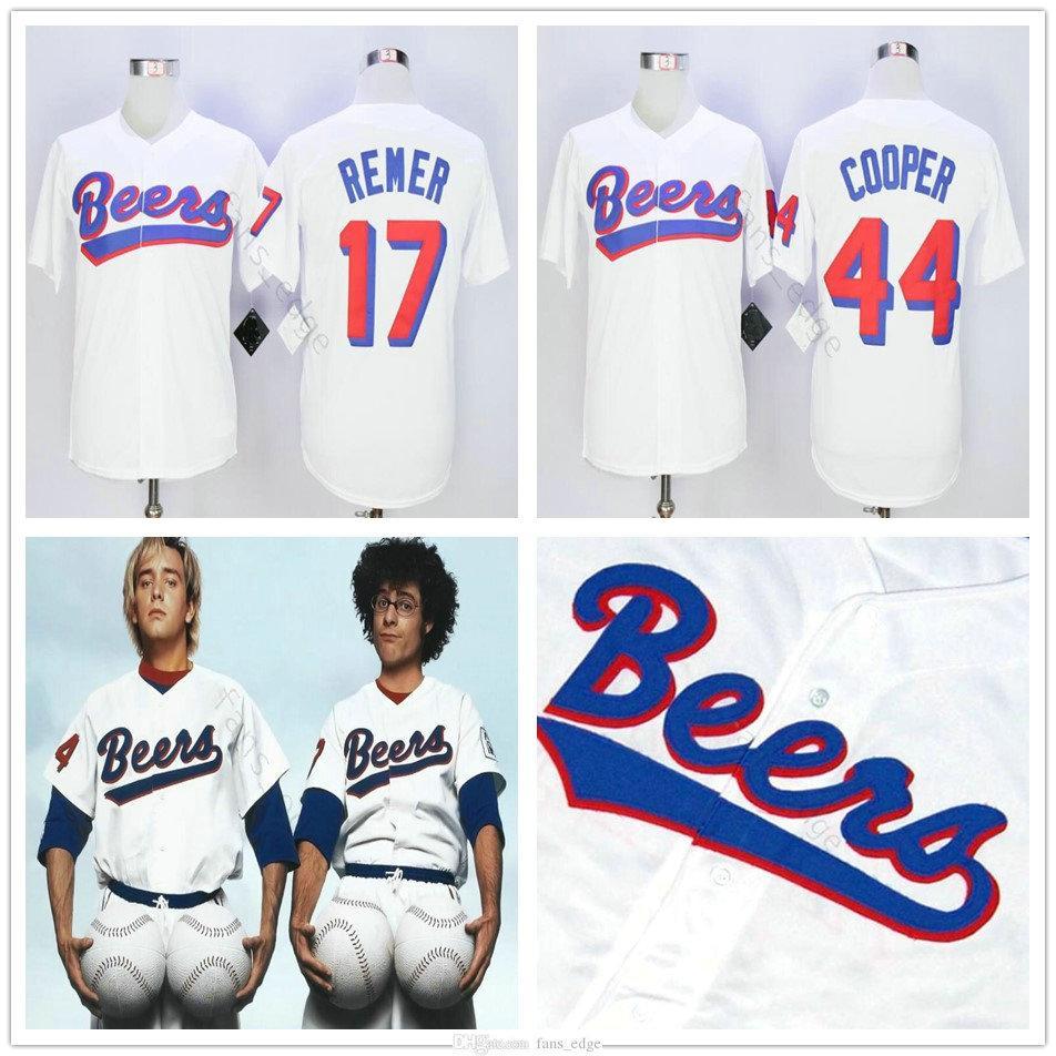 Hot The Baseketball Beers Movie # 17 Doug Reler # 44 Joe Coop Cooper Baseketball أبيض BaseBall Jerseys 001