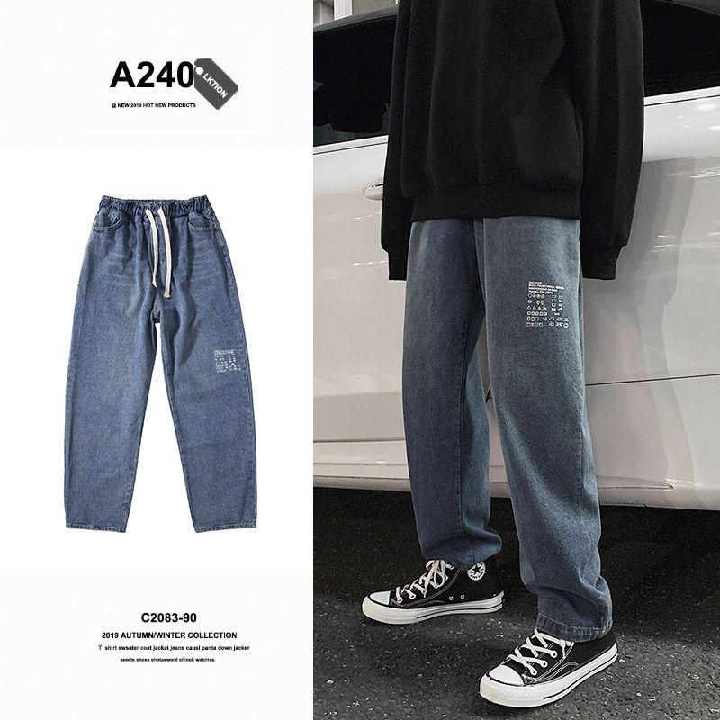 I jeans autunnali sciolti i pantaloni da gamba di Harlan Harlan Harlan Harlans di moda coreana