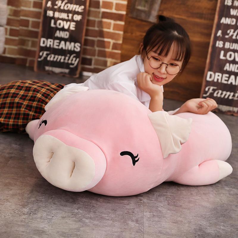 110 cm cerdo almohada gigante encantador suave suave cadena de algodón peluche muñeca rellena rosa pink muñeca bebé software almohada regalo para novia Q0113