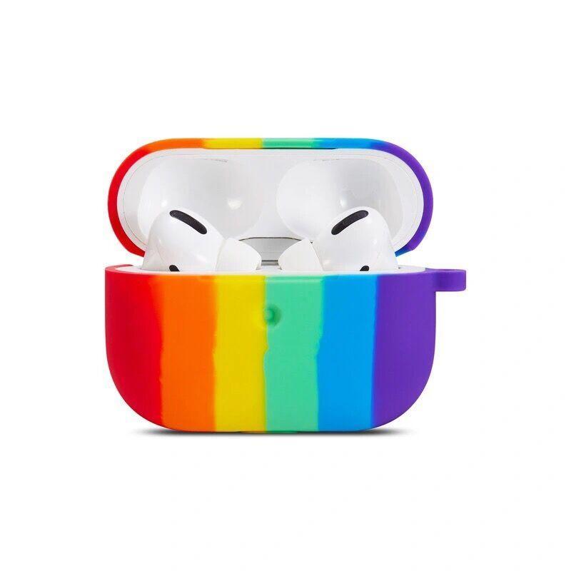 قوس قزح الألوان سيليكون سماعة القضية ل airpods برو سماعة