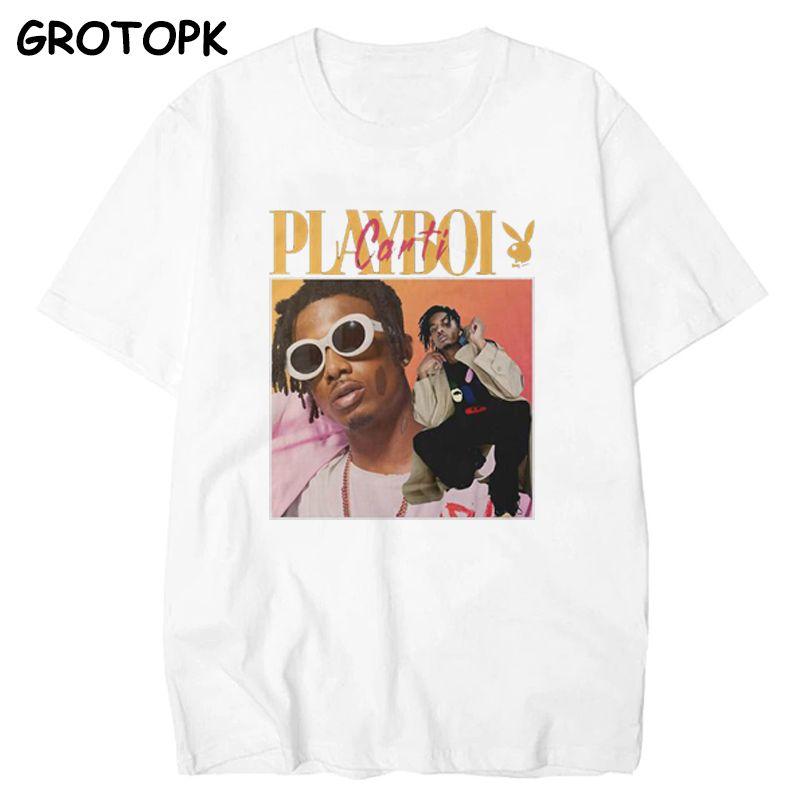 Qualité High Vintage Playboi Carti Vintage 90s Marchandise Print Hommes T-shirt Chemise O-Cou Coton Coton Coton Coton Homme T-shirt Homme Tees Tops C0308