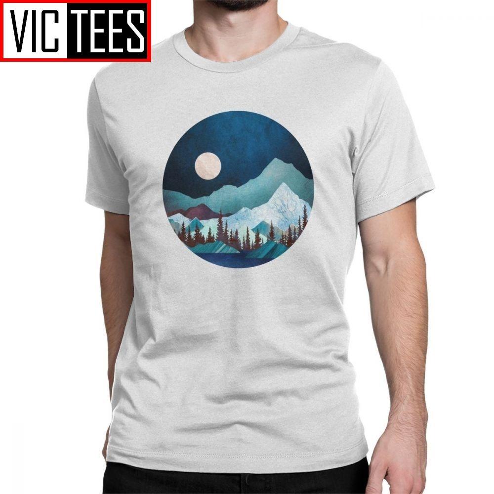 Hombres Moon Bay T-shirt Mand Senderismo Camisetas Noche Árboles Forestal Montañas Naturaleza Tops Classic Fit T Shirts C0220