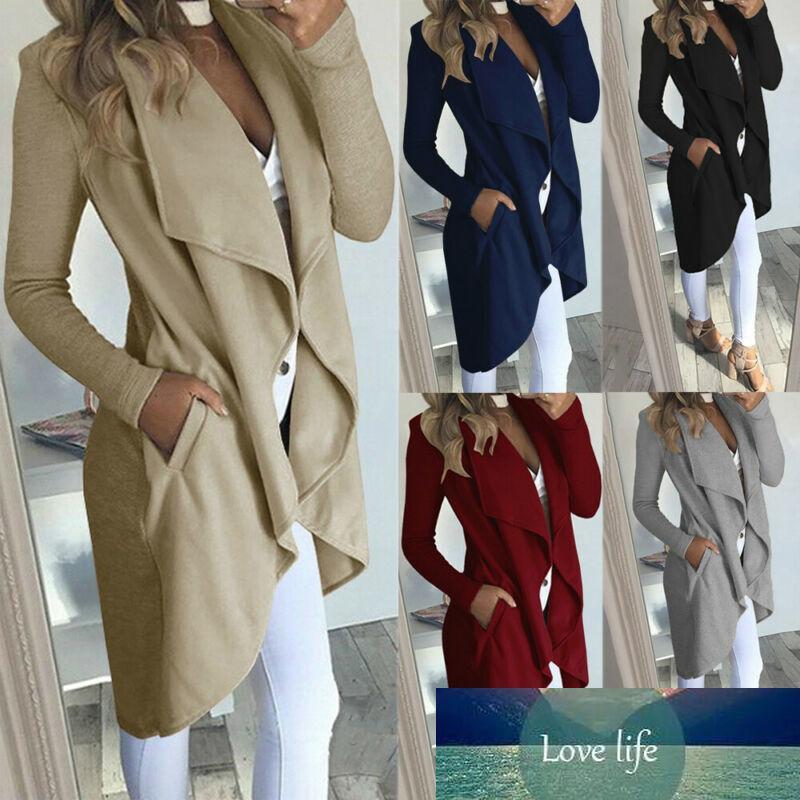 Winter Trench Одежда Женская Длинная Куртка Пальто Мода Дамы Кардиган Передвижной Джемпер Ветрозащитный Теплый Плюс Размер