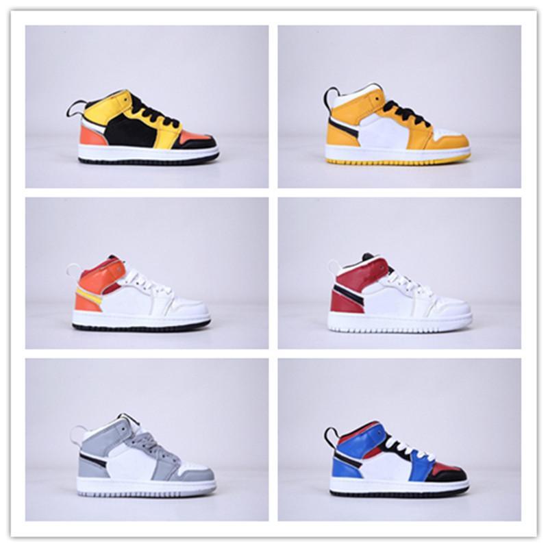 Meados 1s Sneakers Oreo Multicolor Basquete Sapatos Amarelo Rosa Meninos e Meninas Running Show Shoes Tamanho 22-37