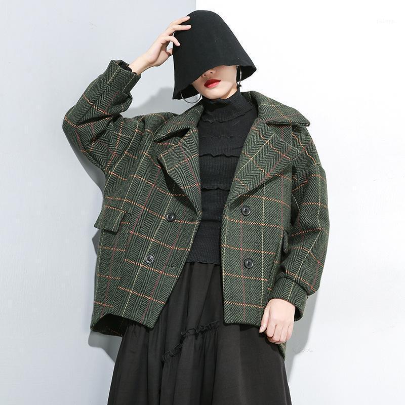 Женская шерстяная смесь женщины плед пальто шерстяной шерстяной плюс размер кардиган женщин зимняя куртка1