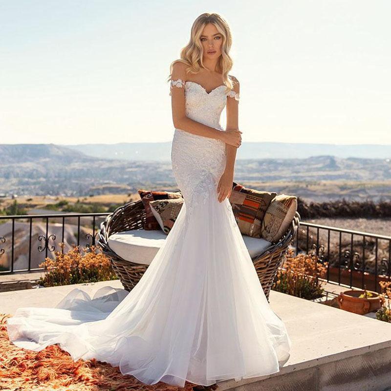 2021 Beyaz Mermaid Gelinlik Kapalı Omuz Aplikler Dantel Ülke Gelin Törenlerinde Boho Gelinlik Robes de Mariee Ucuz Evlilik