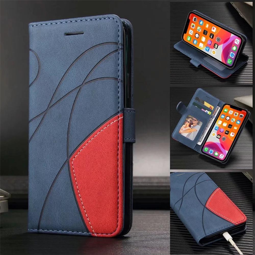 Cas de téléphone portable pour iPhone 13 12 mini 11 pro xr xs max 7 8 Samsung Galaxy Note20 S21 S20 Ultra Note10 S10 PU DUAL COUCHING PU Tournez le couvercle de support avec cadre photo