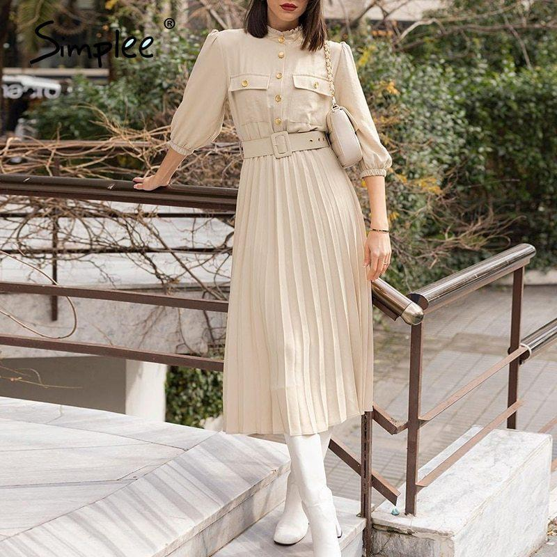Simplee A-line holiday female midi dress Ruffled three quarter sleeve pleated dress Elegant belt office ladies pocket dress 210222