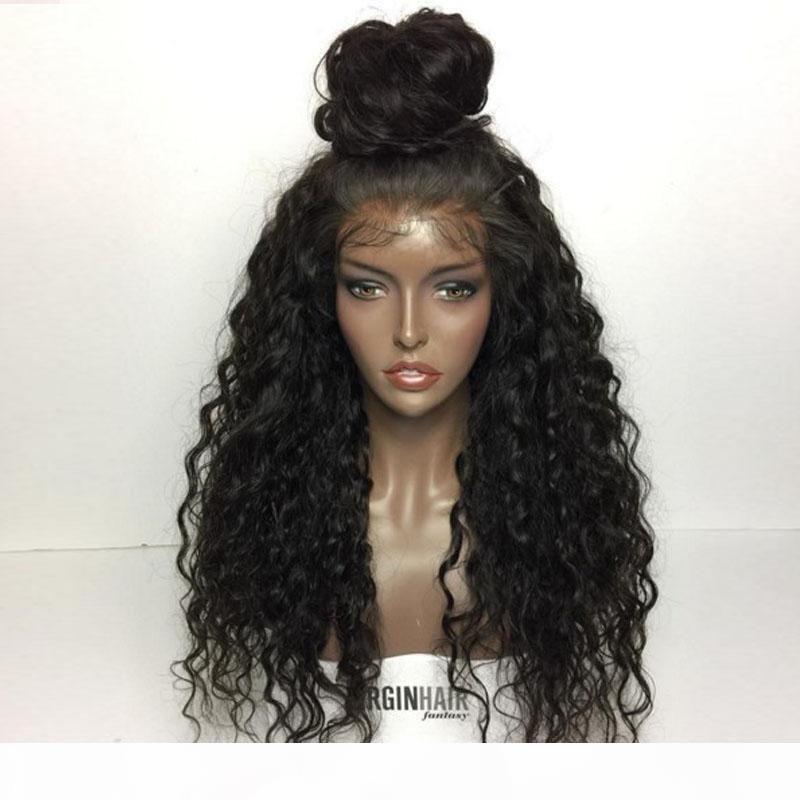 100% malese profondo capelli ricci capelli umani colore naturale 130% di densità dei capelli nodi sbiancati parrucche anteriori umane con i capelli del bambino