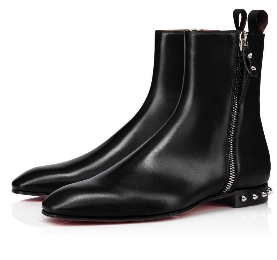 Зимние бренды Roadirik Ankle Boot Boot Black Calfskin Кожаные красные нижние ботинки Мужские веретки Роскошный дизайнер Booty Известная вечеринка