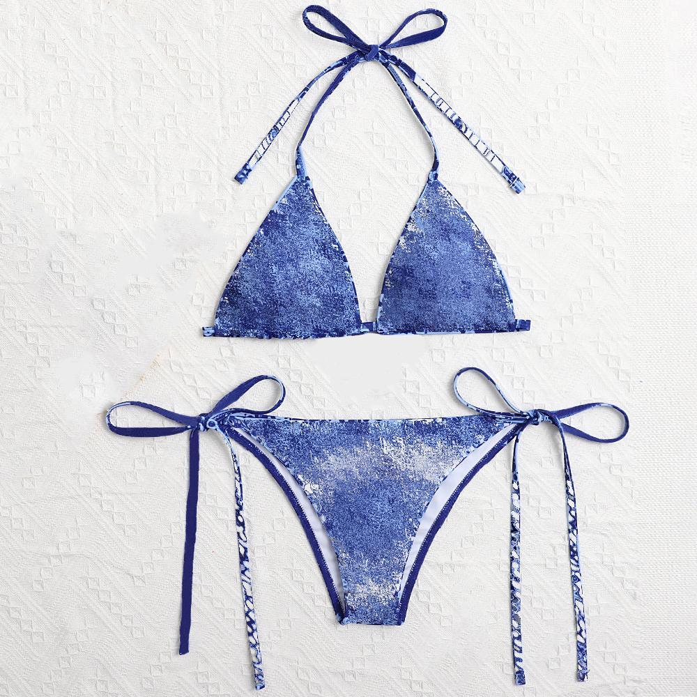 Sexy Bikini-Frauen-Badeanzüge Sommer-Badebekleidung Zwei-Stück-Stickbrief-Bathing-Anzug 3 Farben asiatische Größe S-XL