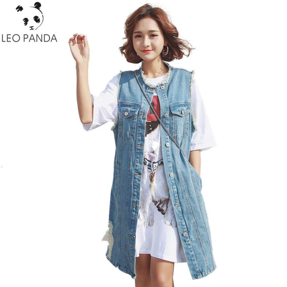 Spring Autumn Sleeveless Long Denim Vest Women Plus Size Waistcoats Blue 2020 New Fashion Cowboy Coat Female Jean Vests Jacket