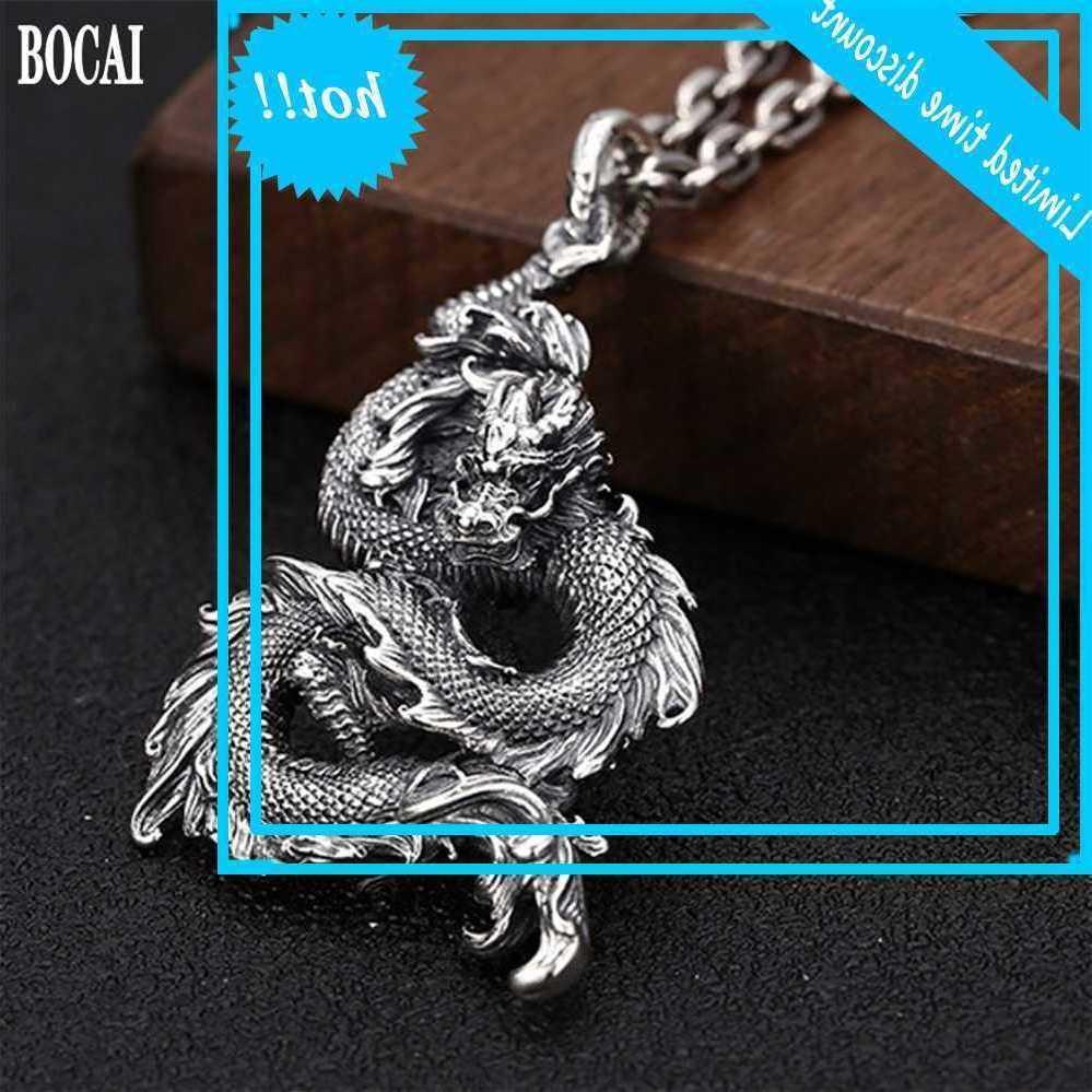 Bocai novo sólido s925 puro prata de jóias personalidade sfeer tamron azul dragão forma homens cadeia cabide