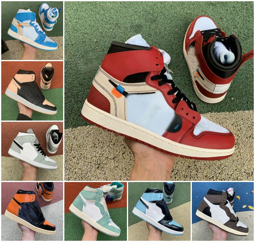 1 1s Universidade Blue Men Sapatos de Basquete Escuro Mocha Prata Chicago Toe Fumo Fumaça Cinza UNC Patente Preto Branco Mens Trainers Mulheres Sneakers