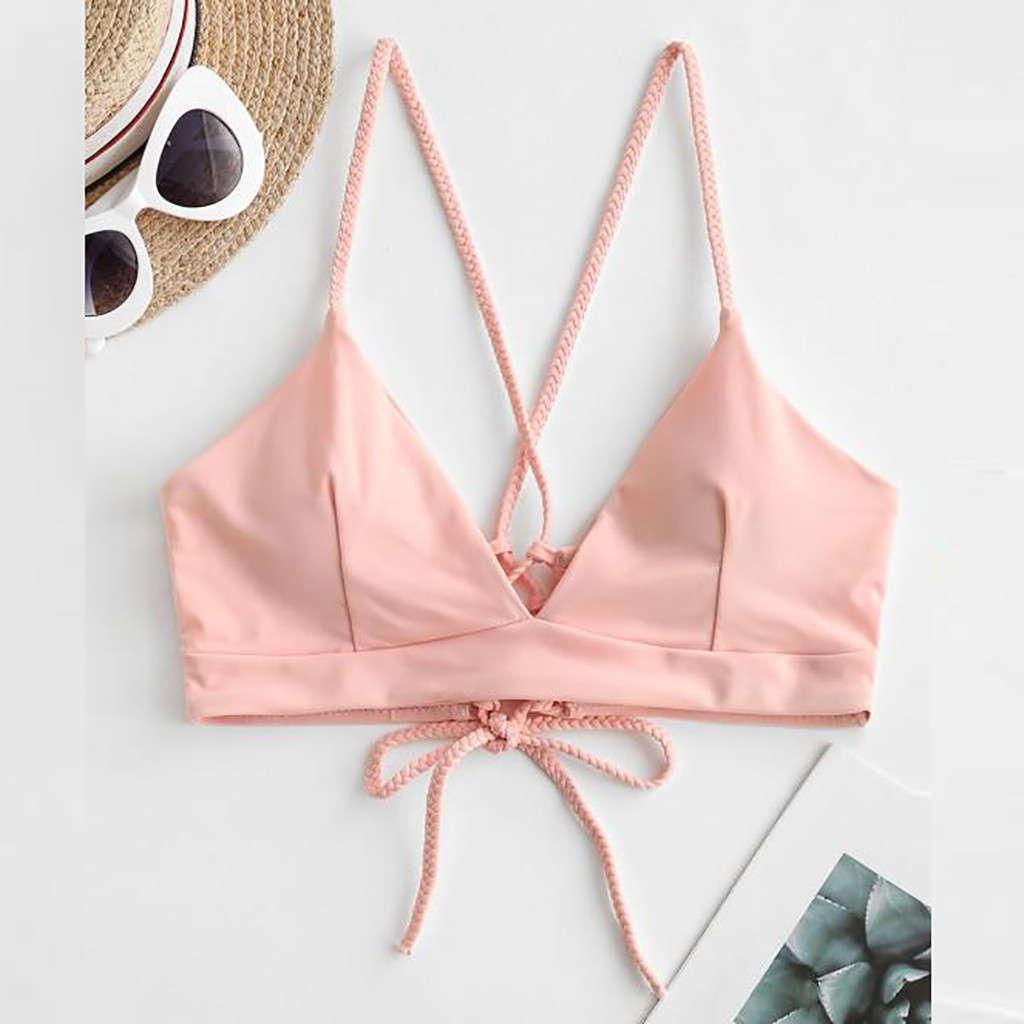 Сексуальные женщины Bandage Push-Up Bikini Tops Powded Bras Купальник Купальники Пляжная одежда 2021 Летний Пляж Купальник Купальник