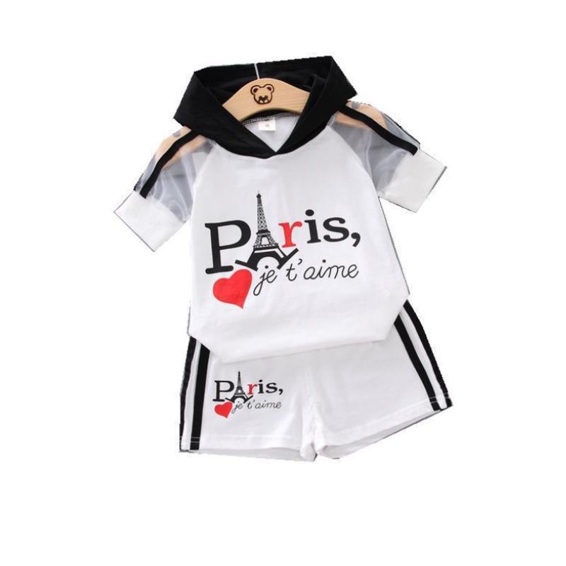 NUEVO VERANO NIÑOS Ropa de moda Baby Boy Girls Letter Capucha Camiseta T Shirts 2pcs / Sets Kids Infant Ropa TRACKSUIT C0223