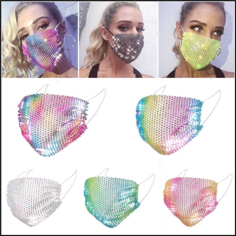 Diamant DHL Mode Bunte Masken Bling Mesh 50pcs Party Strass Gitter Net Waschbare sexy Hohlmaske Für Frauen