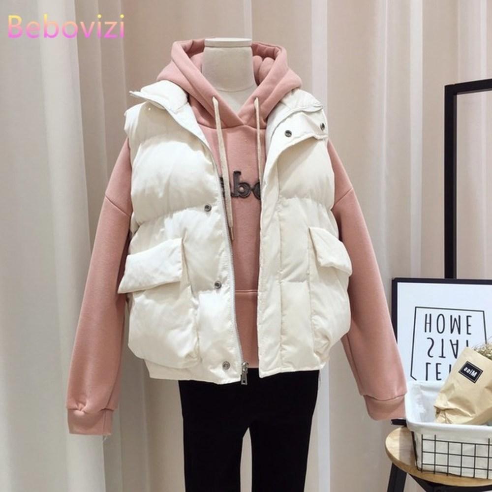 Plus Size M-5XL 2020 Women Vest Winter Warm Down Padded Jacket Female Veats Mandarin Collar Sleeveless Waistcoat