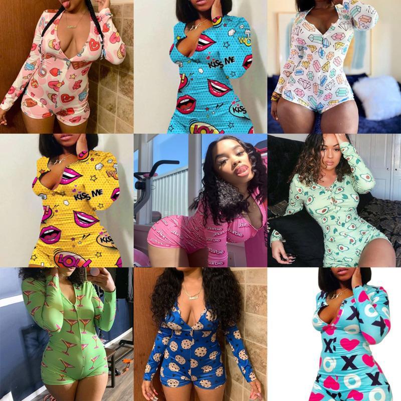 Women Pajama Onesies Designer Nightwear Playsuit Workout Button Skinny Cartoon Print Jumpsuits V-neck Short Onesies Rompers